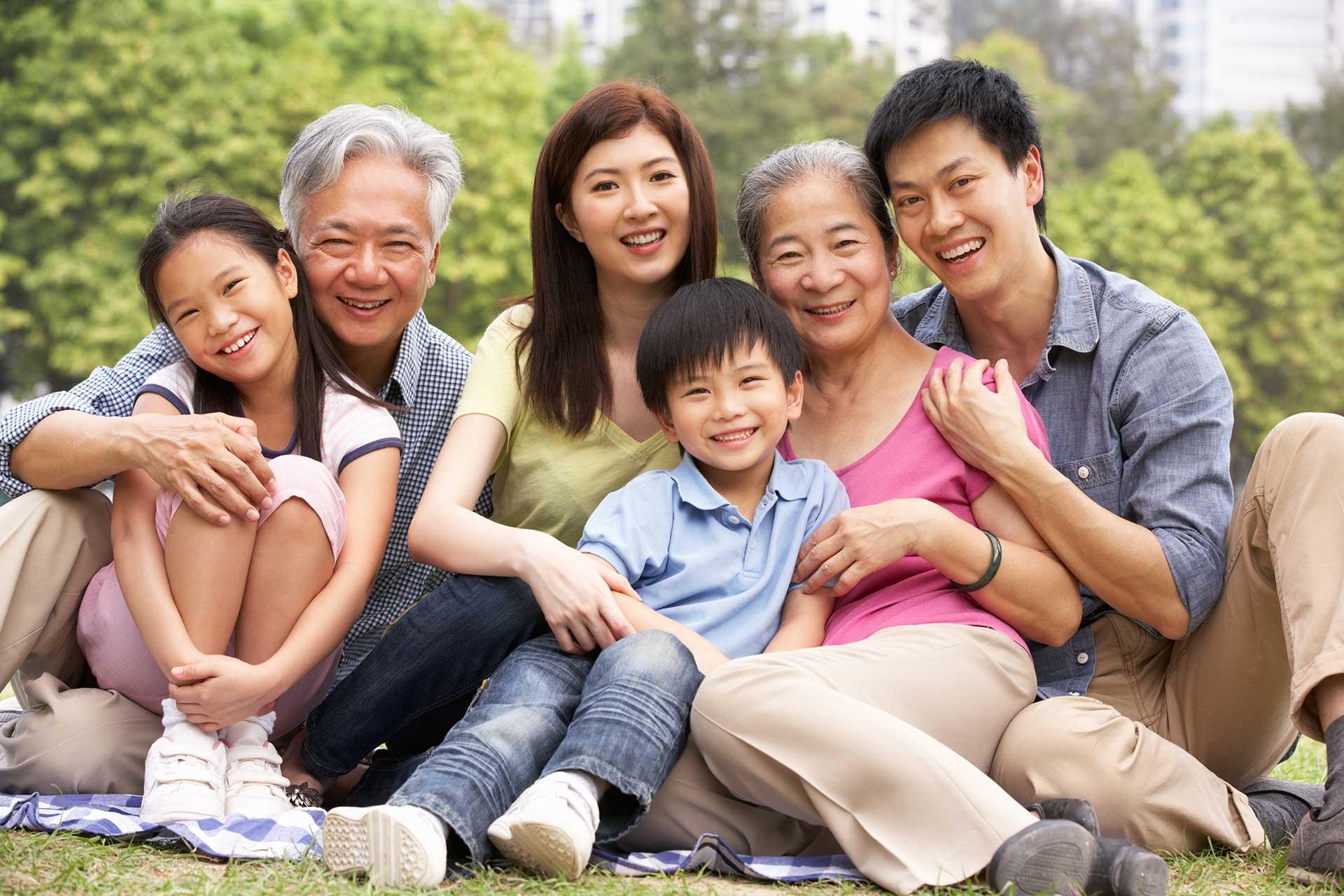 A large family enjoys their vacation after a dental visit at Princeton Park Dental